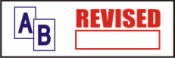 "This pre-inked rubber stamp comes pre-assembled with the text ""REVISED."" The stamp is built with quality and has the capabilty to be re-inked."